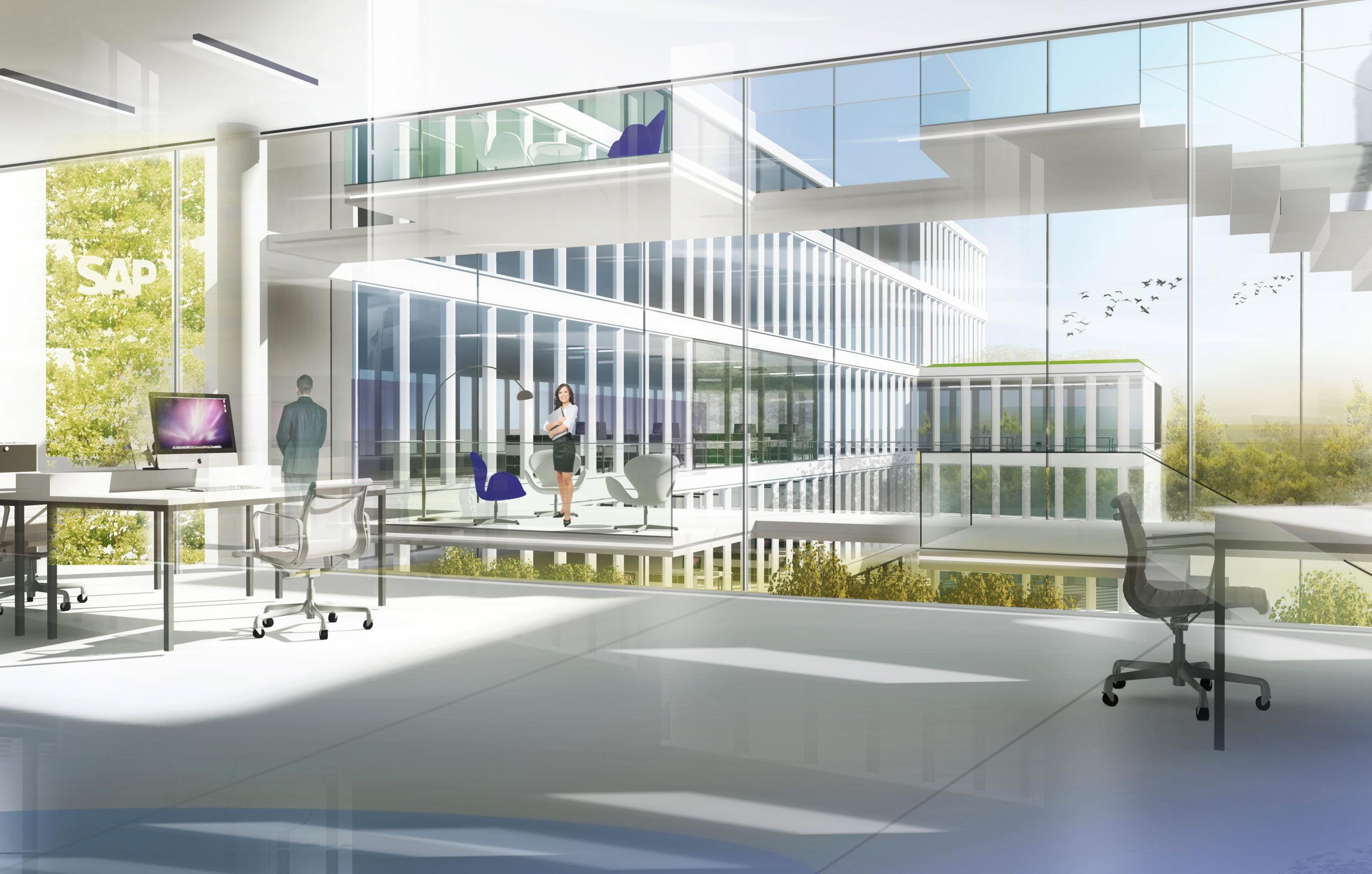Innenraumperspektive Wettbewerb Firmenzentrale SAP in Walldorf von Bitsch+Bienstein Architekten