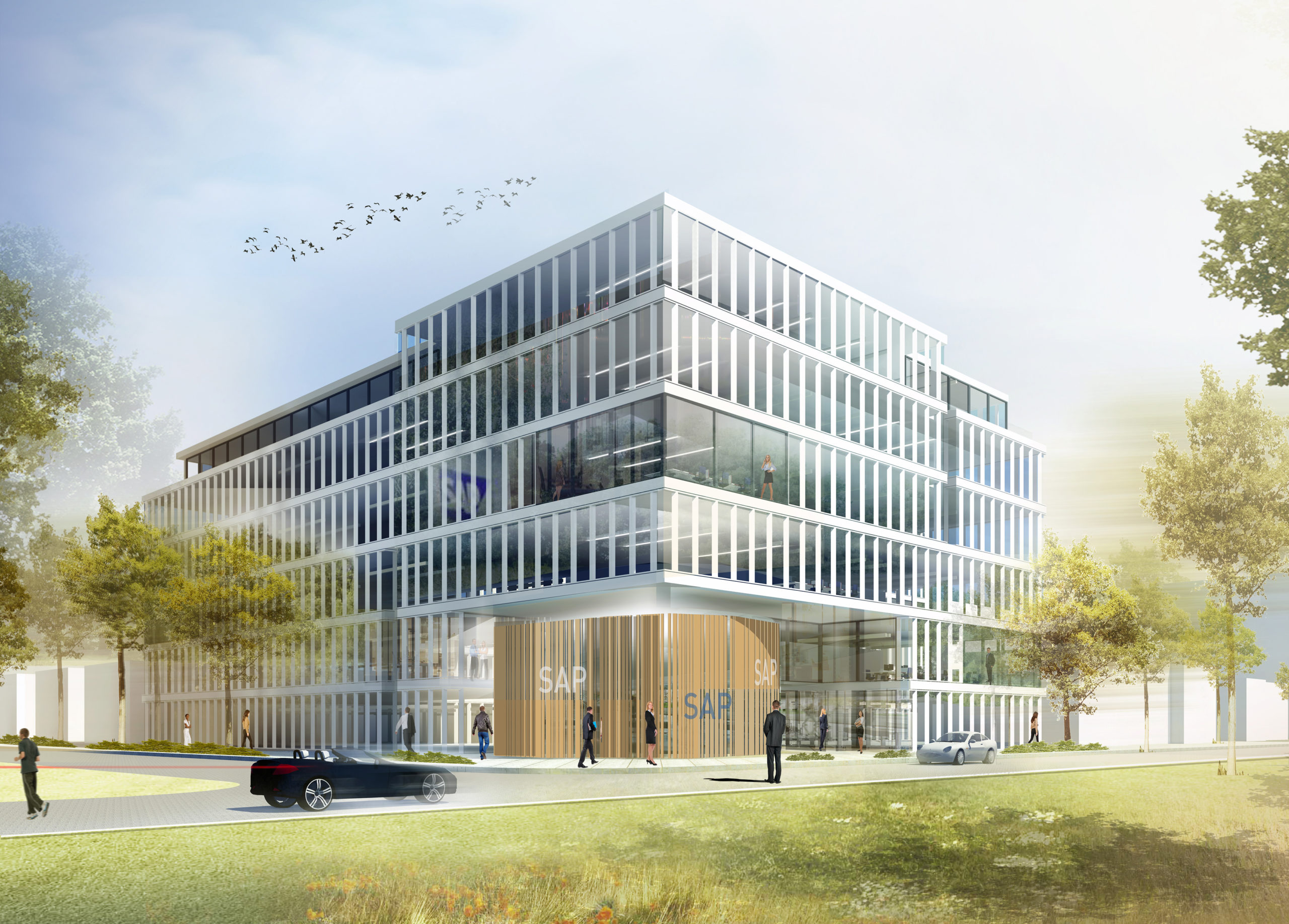 Perspektive Wettbewerb Firmenzentrale SAP in Walldorf von Bitsch+Bienstein Architekten