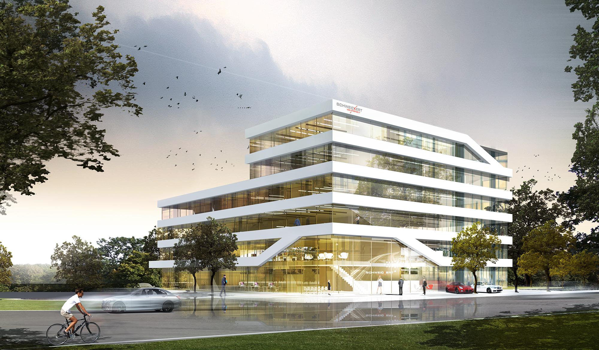 Perspektive Wettbewerb Firmenzentrale Schweickert in Walldorf von Bitsch+Bienstein Architekten