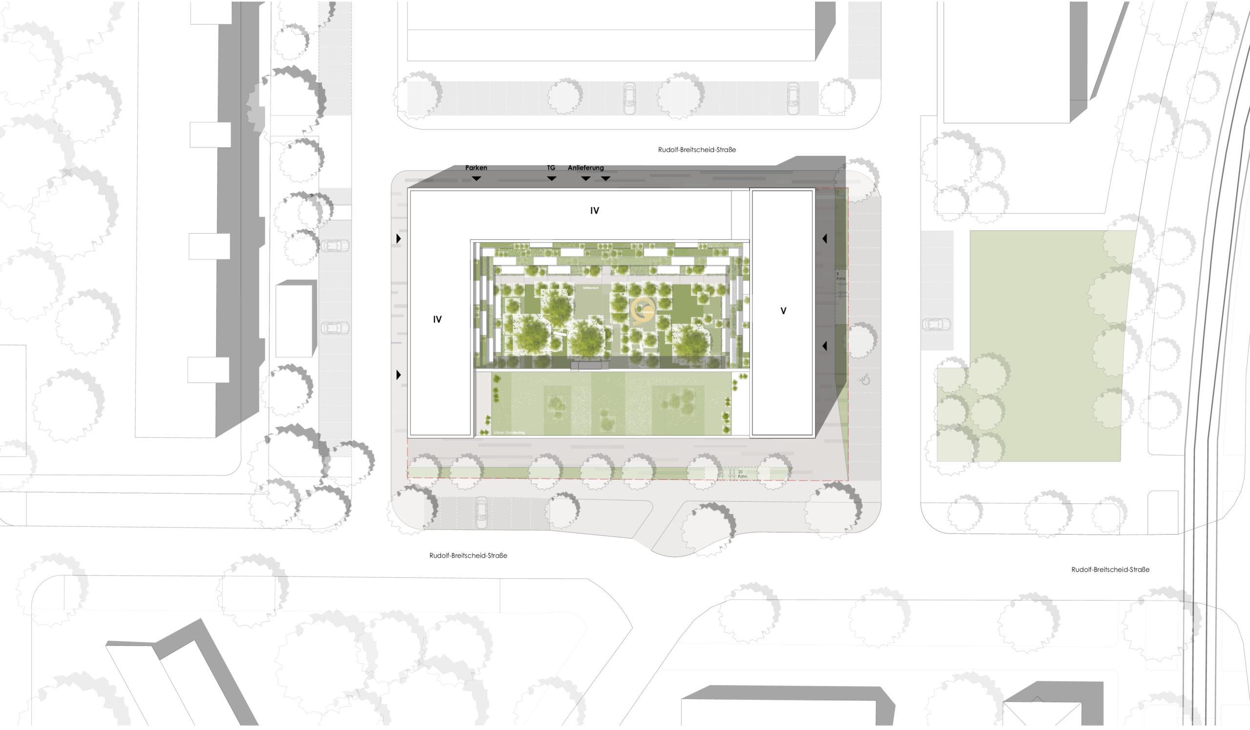 Lageplan Wettbewerb Wohnen über Einzelhandel in Karlsruhe von Bitsch+Bienstein Architekten