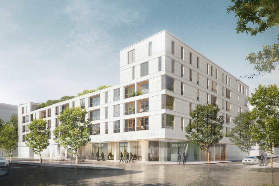 Perspektive Wettbewerb Wohnen über Einzelhandel in Karlsruhe von Bitsch+Bienstein Architekten