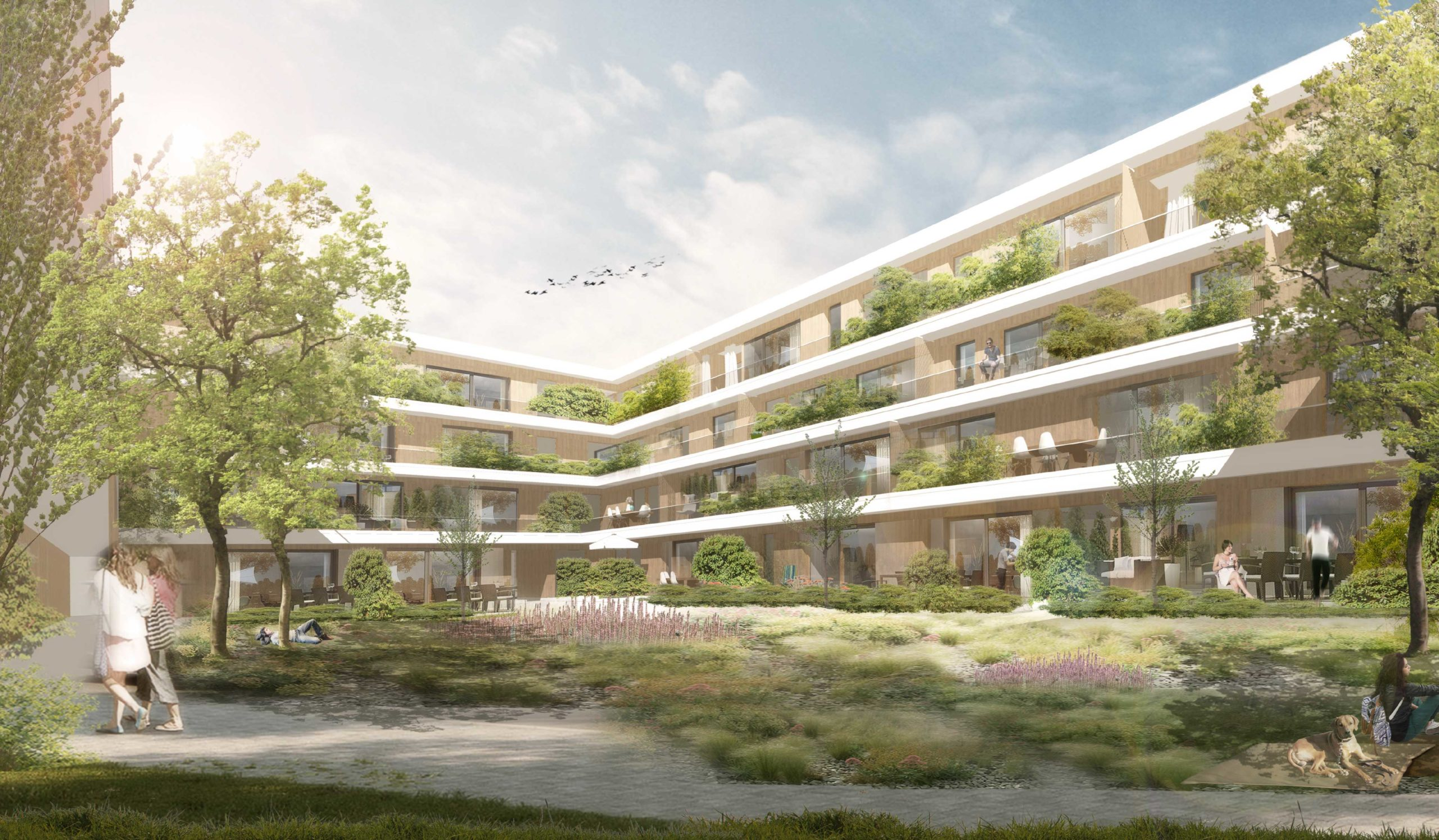 Perspektive Innenhof Wettbewerb Wohnen über Einzelhandel in Karlsruhe von Bitsch+Bienstein Architekten