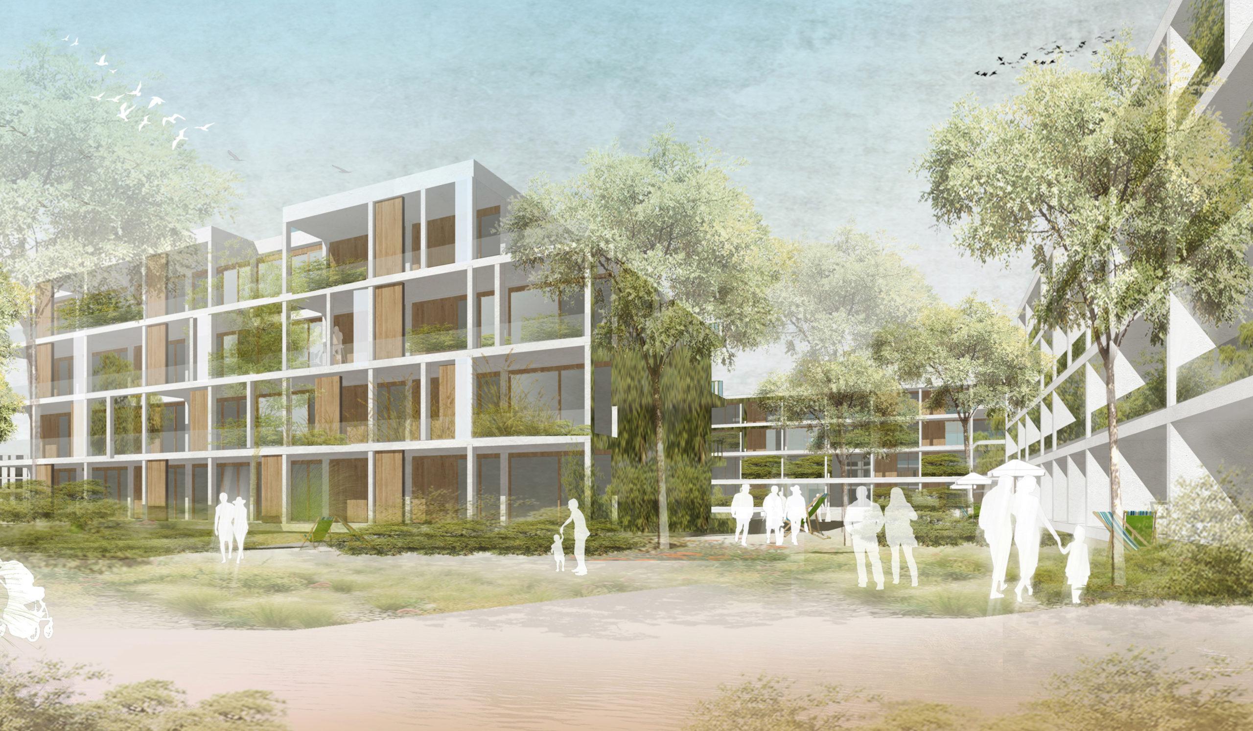 Perspektive Wettbewerb Adlerstraße Ost in Wernau von Bitsch+Bienstein Architekten