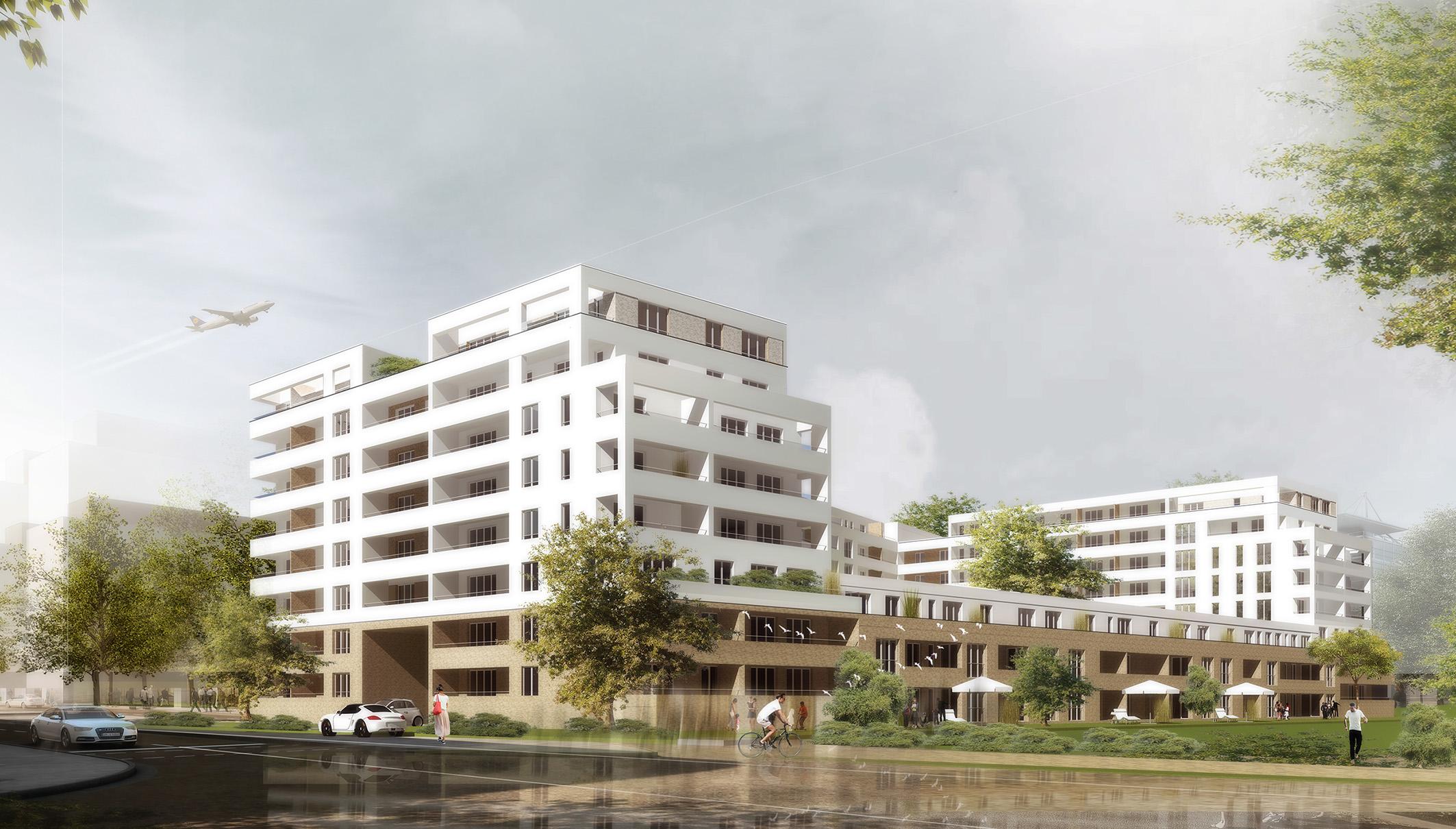 Perspektive Wettbewerb Wohnungsbau Hahnstraße im Lyoner Quartier in Frankfurt am Main von Bitsch+Bienstein Architekten