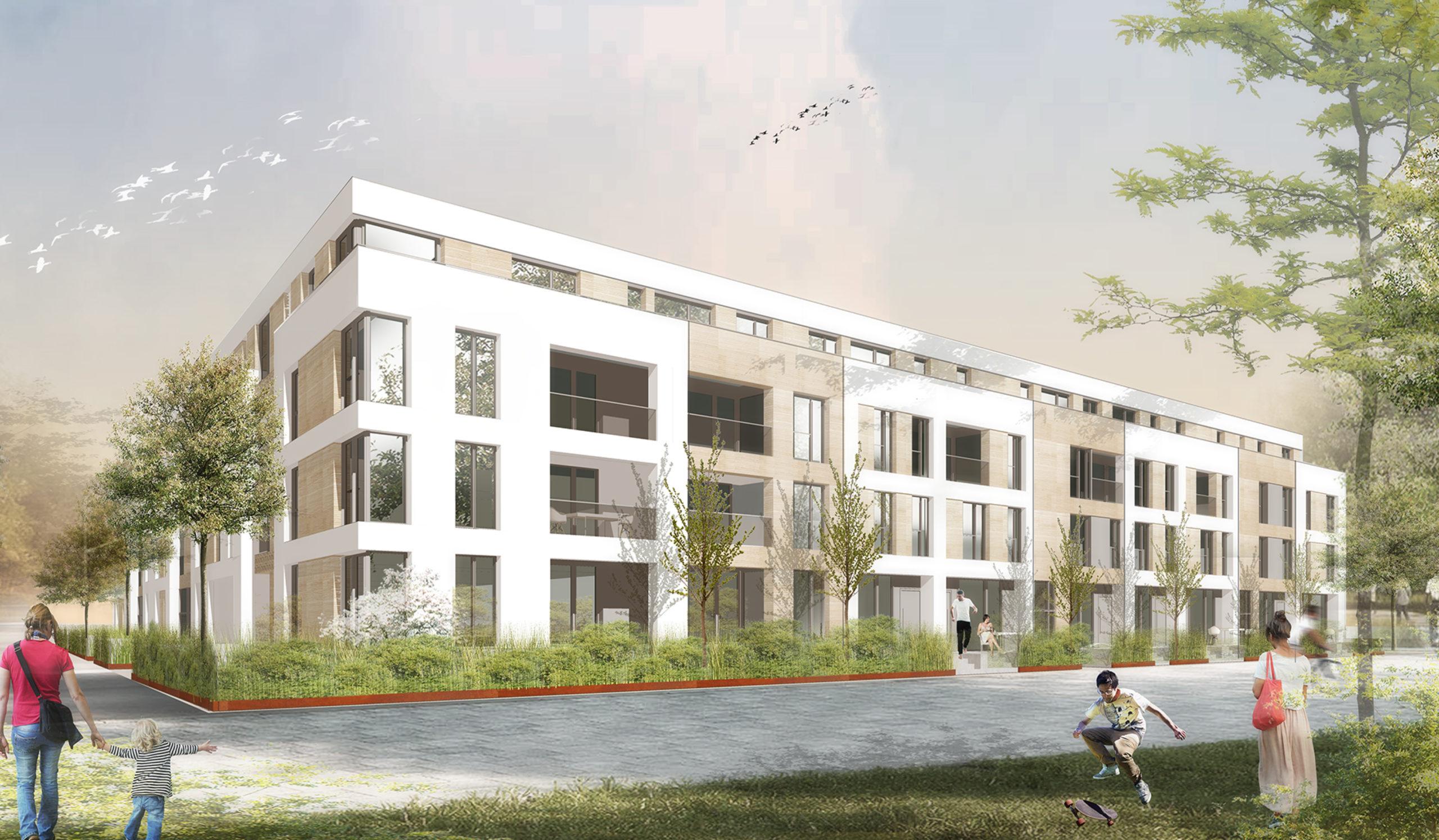 Perspektive Wettbewerb Wohnungsbau Kronenquartier in Offenburg von Bitsch+Bienstein Architekten