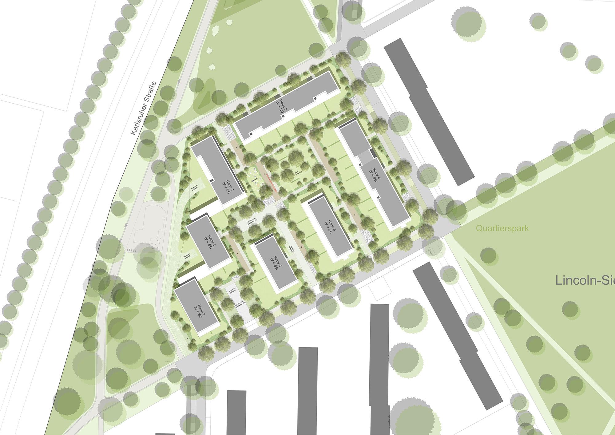 Lageplan Wettbewerb Wohnungsbau Baufeld 2.2 in der Lincoln Siedlung in Darmstadt von Bitsch+Bienstein Architekten