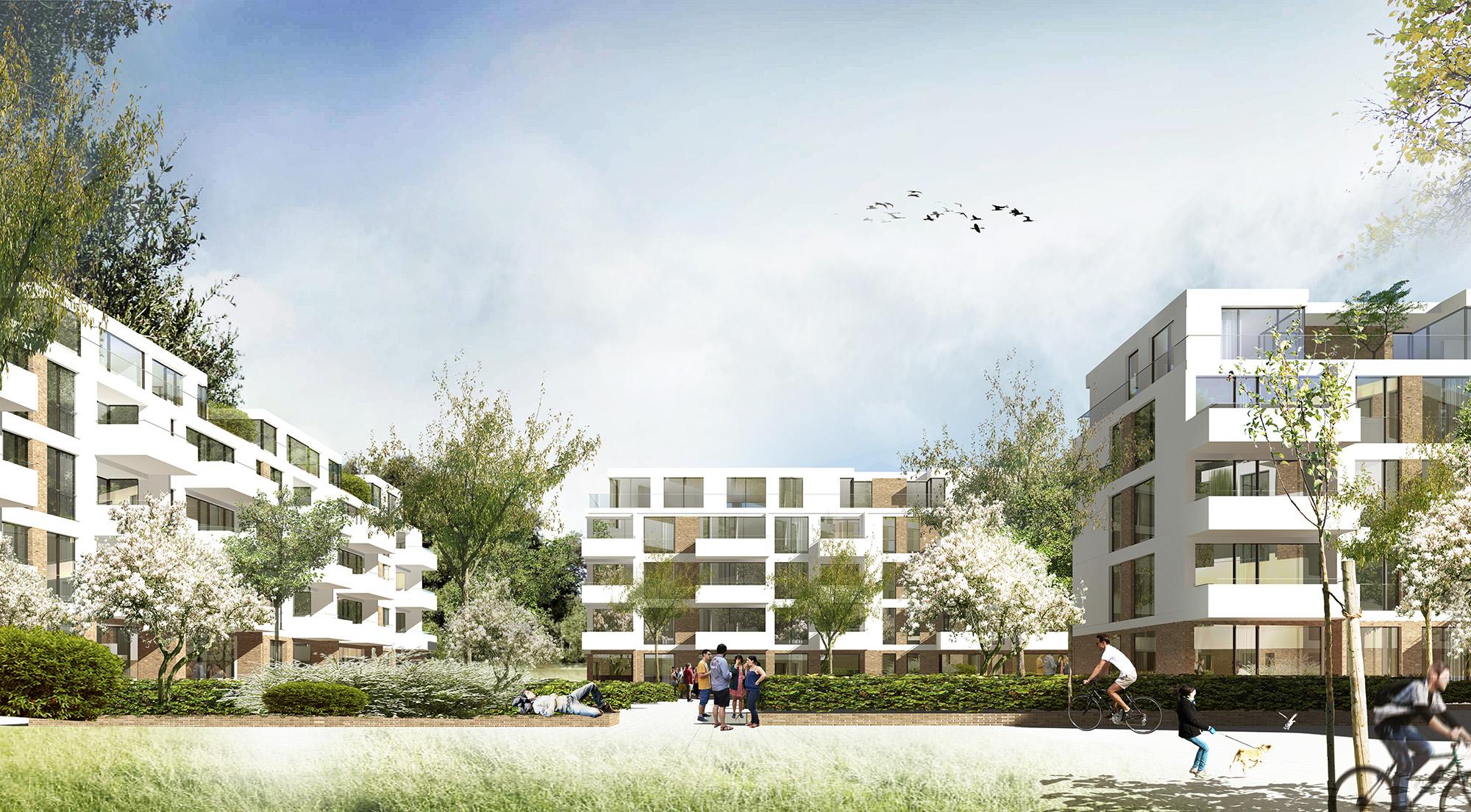 Perspektive Wettbewerb Wohnungsbau Baufeld 2.2 in der Lincoln Siedlung in Darmstadt von Bitsch+Bienstein Architekten