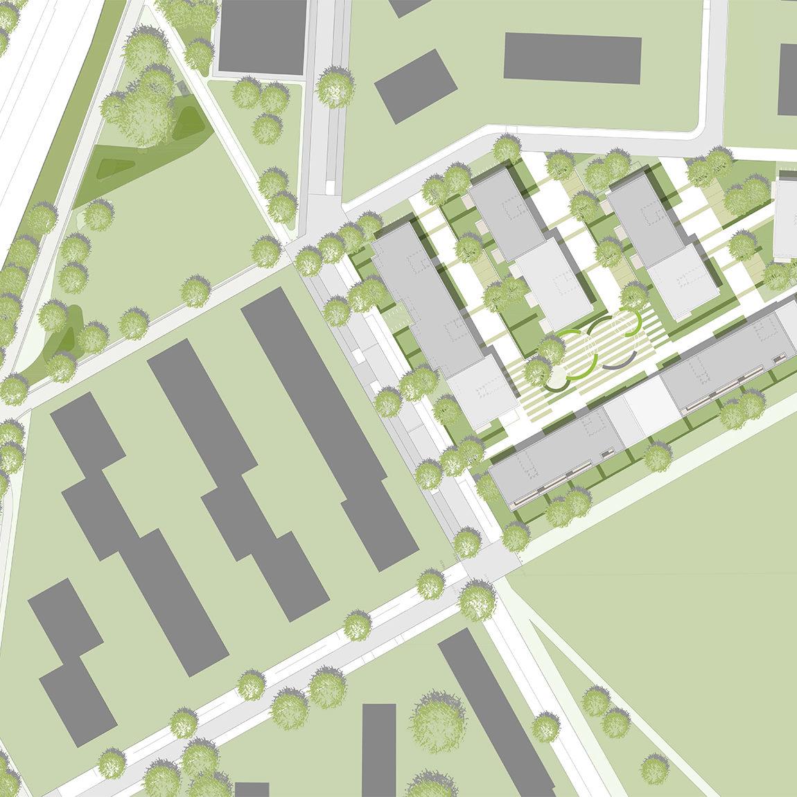 Lageplan Wettbewerb Wohnungsbau Baufeld 2.1 in der Lincoln Siedlung in Darmstadt von Bitsch+Bienstein Architekten