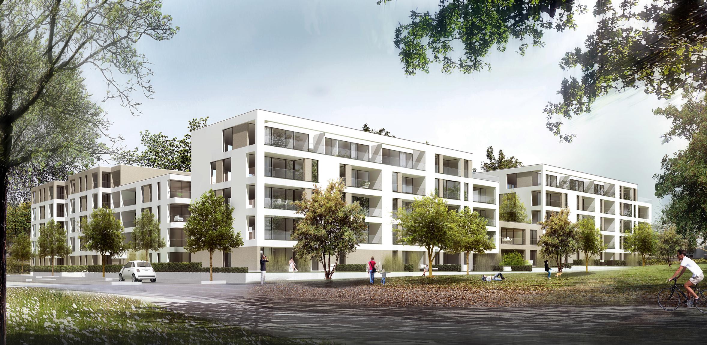 Perspektive Wettbewerb Wohnungsbau Baufeld 2.1 in der Lincoln Siedlung in Darmstadt von Bitsch+Bienstein Architekten