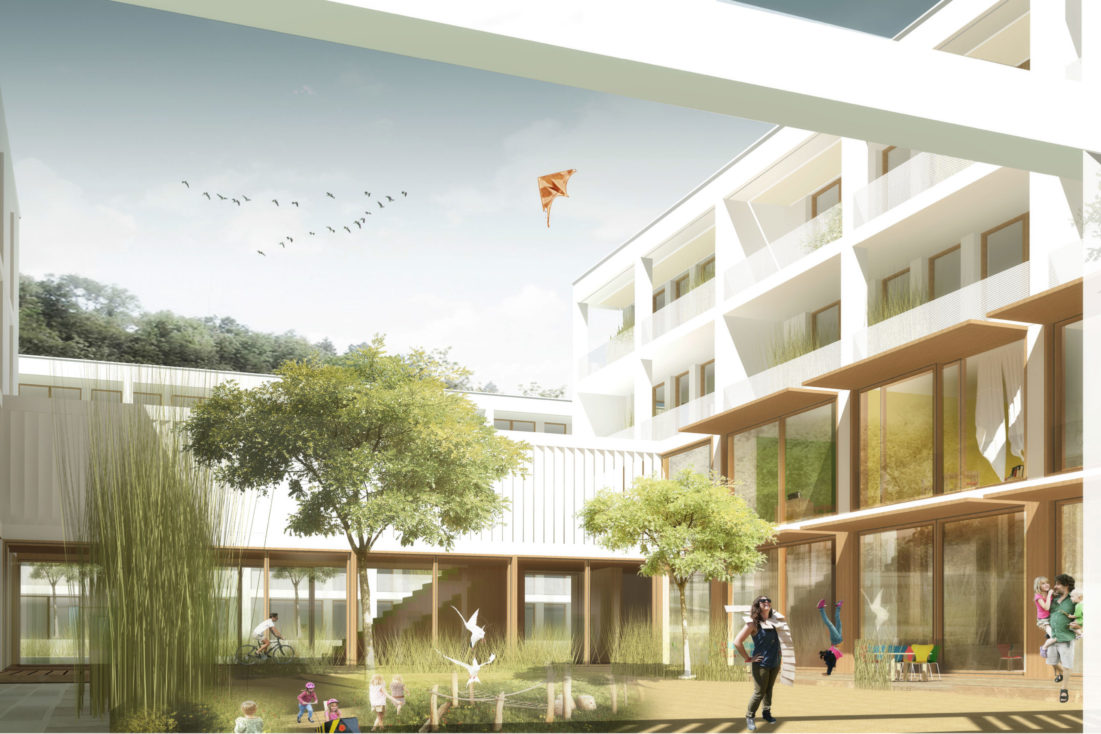 Perspektive Wettbewerb Wohnungsbau und Kindertagesstätte Hainweg in Wiesbaden von Bitsch+Bienstein Architekten