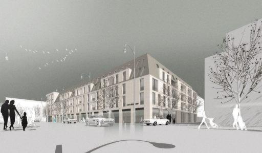 Perspektive Wettbewerb Karstadt-Areal in Rüsselsheim von Bitsch+Bienstein Architekten