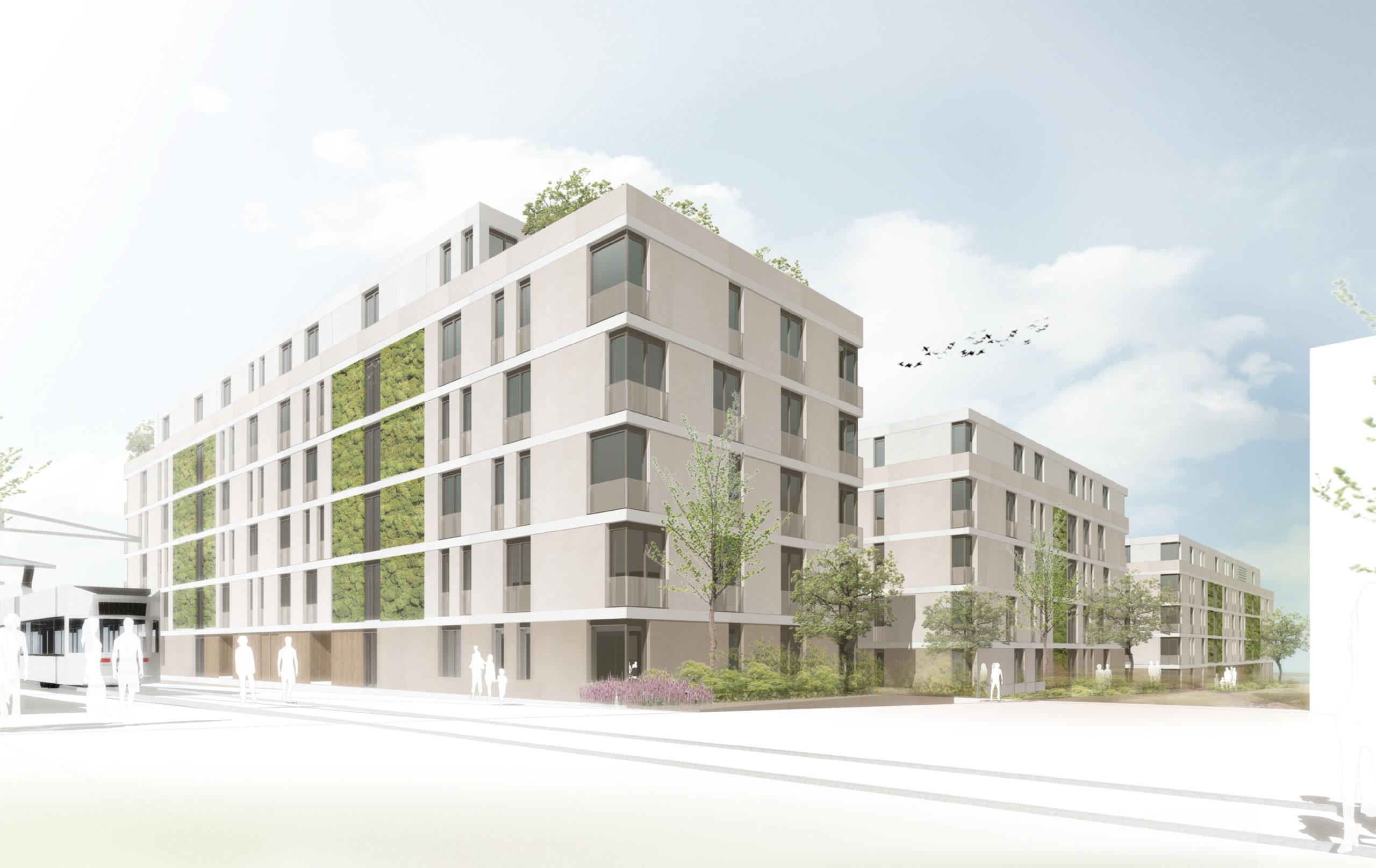 Perspektive Wettbewerb Quartier Ludwigshöhe in Darmstadt von Bitsch+Bienstein Architekten